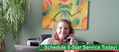 Peace Frog Carpet & Tile Cleaning receptionist smiling and on phone