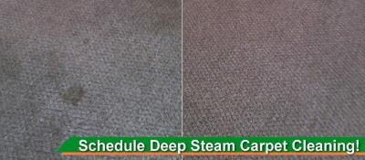 Before and after picture of soiled carpet that was cleaned by Peace Frog Carpet & Tile Cleaning in Austin