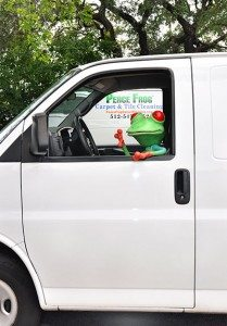 Peace Frog Mascot puppet sitting in driver's seat of carpet cleaning van