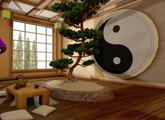 Zen room with ying and yang mural and hardwood floor