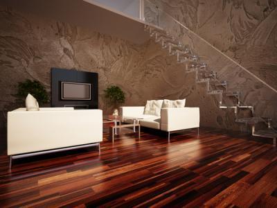 Beautiful living room with freshly steam cleaned hardwood floor