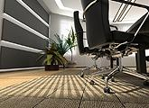 Cleaned commercial carpet floor in office, with office chairs