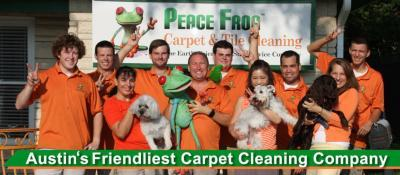 Peace Frog Carpet and Tile Cleaning company photo with text overlay