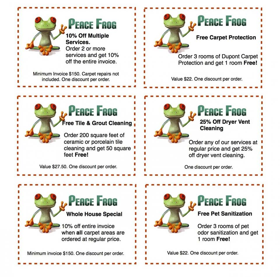 Peace Frog Carpet Cleaning coupon sheet listing featuring discounts and free services with purchase for tile and grout cleaning, carpet protection, dryer vent cleaning, pet sanitation and carpet cleaning