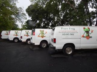 Row of Peace Frog Carpet and Tile Cleaning commercial vans