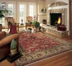 Cleaned area rug in nice living room with fire place