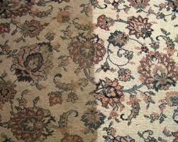 Half cleaned flower pattern area rug, showing how clean Peace Frog Carpet & Tile Cleaning in Austin can get your area rug