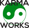 green yin yang symbol with karma works words