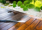 pressure washing a wood deck