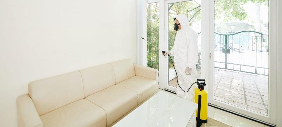 worker disinfecting room